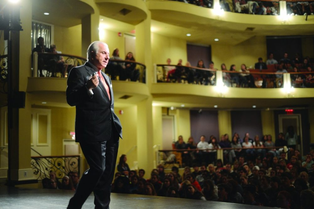 High Point University President Nido Qubein giving a first-year student seminar (Courtesy High Point University)