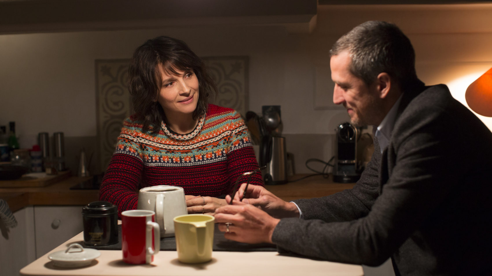 "Juliette Binoche as Selena and Guillaume Canet as Alain Danielson in Olivier Assayas' ""Non-Fiction."" (Courtesy IFC Films)"