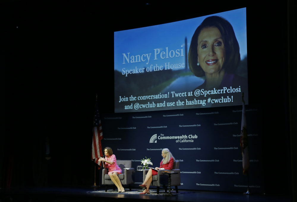 Speaker of the House Nancy Pelosi, D-Calif., gestures while speaking to the Commonwealth Club as moderator and club President Gloria Duffy, right, listens Wednesday, May 29, 2019, in San Francisco. (Eric Risberg/AP)