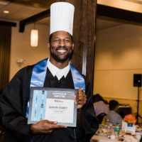 Quintin Storey at the REfire Culinary Program graduation in 2018. (Photo by Heather Drymon/Saorsa Images)