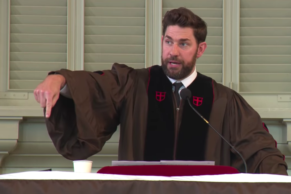 Actor John Krasinski delivers Brown University's baccalaureate address at the 2019 commencement ceremony. (Screenshot via YouTube/Brown University)