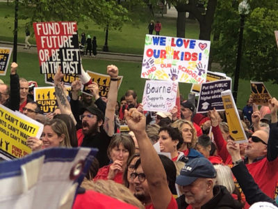 Hundreds of teachers, parents and school advocates demonstrated Thursday, May 16, in Boston in support of legislation to boost school funding. (Courtesy the Massachusetts Teachers Association via Facebook)