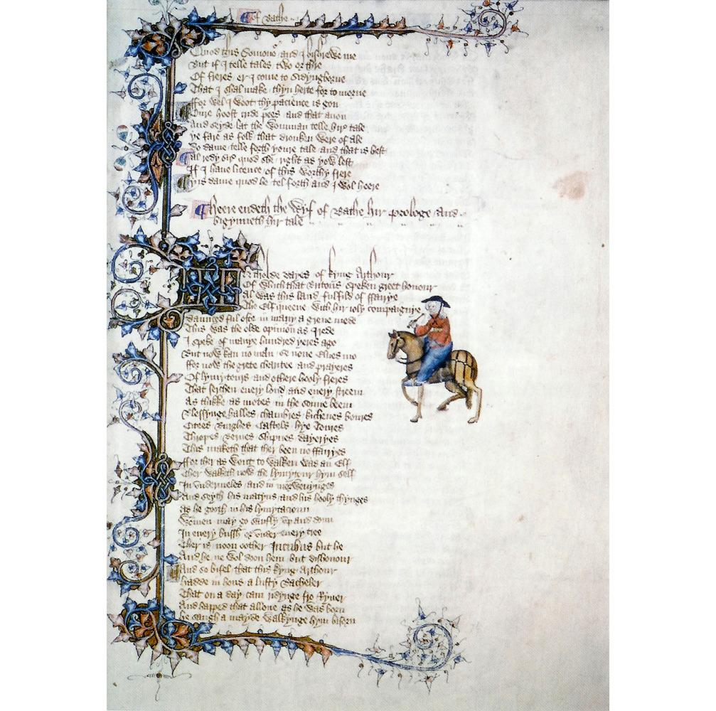 """Opening page of """"The Wife of Bath's Prologue Tale,"""" from the Ellesmere manuscript of Geoffrey Chaucer's """"Canterbury Tales."""" (Public Domain)"""