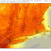 Temperatures will reach the 70s and eventually 80s on Monday in many areas. (Courtesy WeatherBell)
