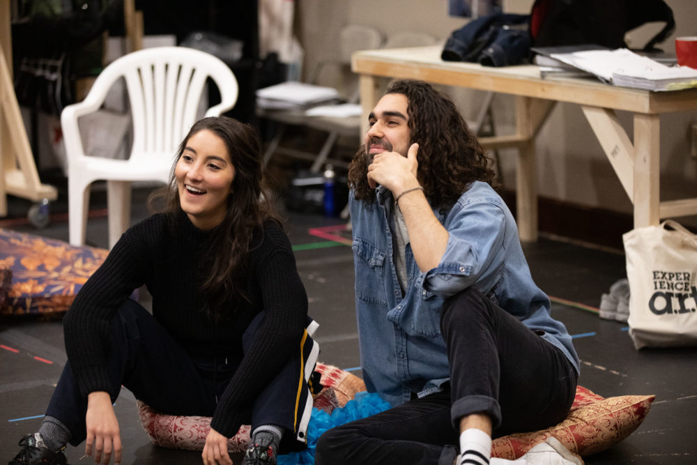 """Parisa Shahmir and Sharif Afifi in rehearsal for """"We Live in Cairo."""" (Courtesy Evgenia Eliseeva and American Repertory Theater)"""