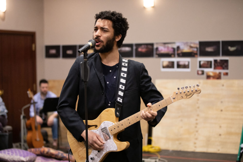 """Jakeim Hart in rehearsal for """"We Live in Cairo."""" (Courtesy Evgenia Eliseeva and the American Repertory Theater)"""