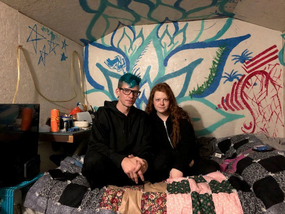 Hattie Rhodes, 39, and Andrew Constantino, 44, got priced out of their studio apartment in Seattle while they were both working. (Credit Alison Bruzek)