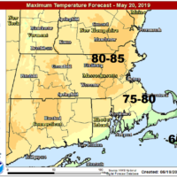 It will be very warm Monday afternoon away from the water. (Courtesy NOAA)