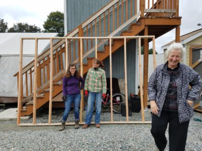 Melinda Nichols (right) is the first apprenticed female carpenter in Washington. (Courtesy Alice Lockridge)