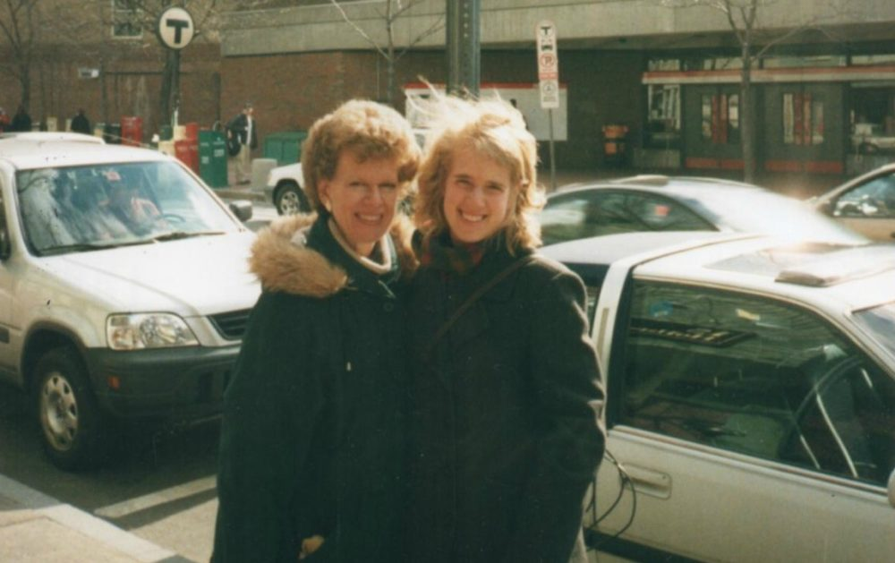 The author and her mother in Davis Square in 2002. (Courtesy)