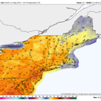 Temperatures will be withing a few degrees of 70 Wednesday. (Courtesy WeatherBell)
