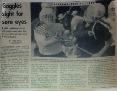 A 1995 clipping announcing that helmets would be replaced with protective eyewear. (Courtesy Kathy Tomassetti)