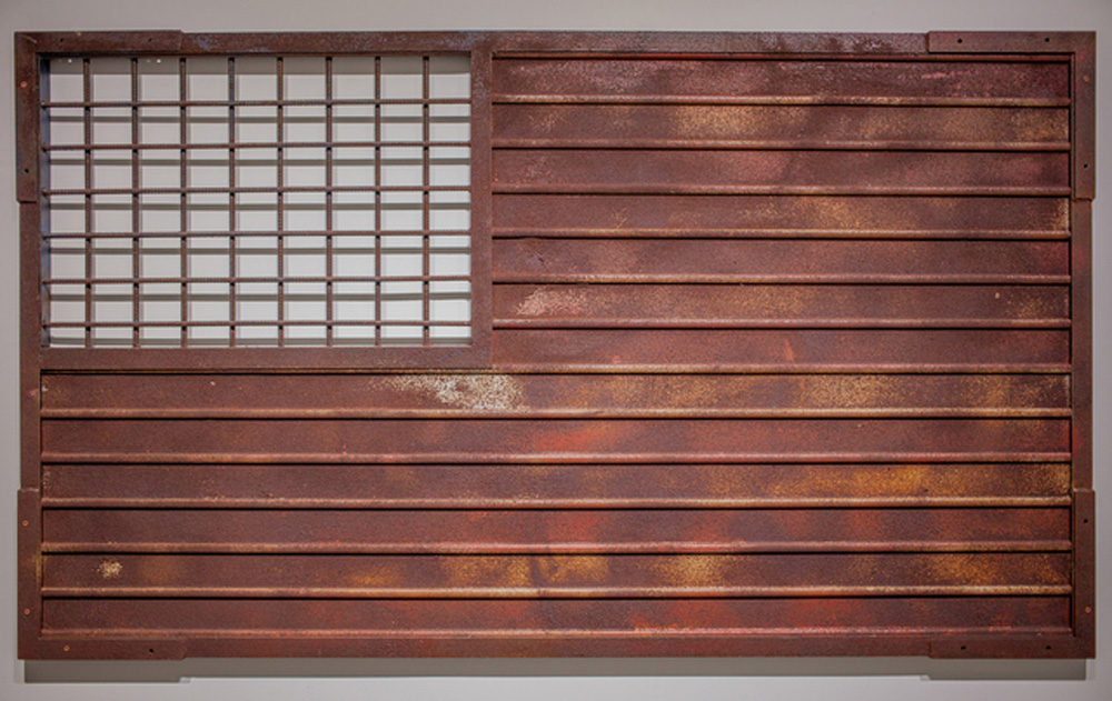 "Marco Ramirez Erre's ""Stripes and Fence Forever."" (Courtesy MASS MoCA)"
