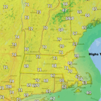 Highs Thursday reach into the 60s and lower 70s. (Dave Epstein/WBUR)