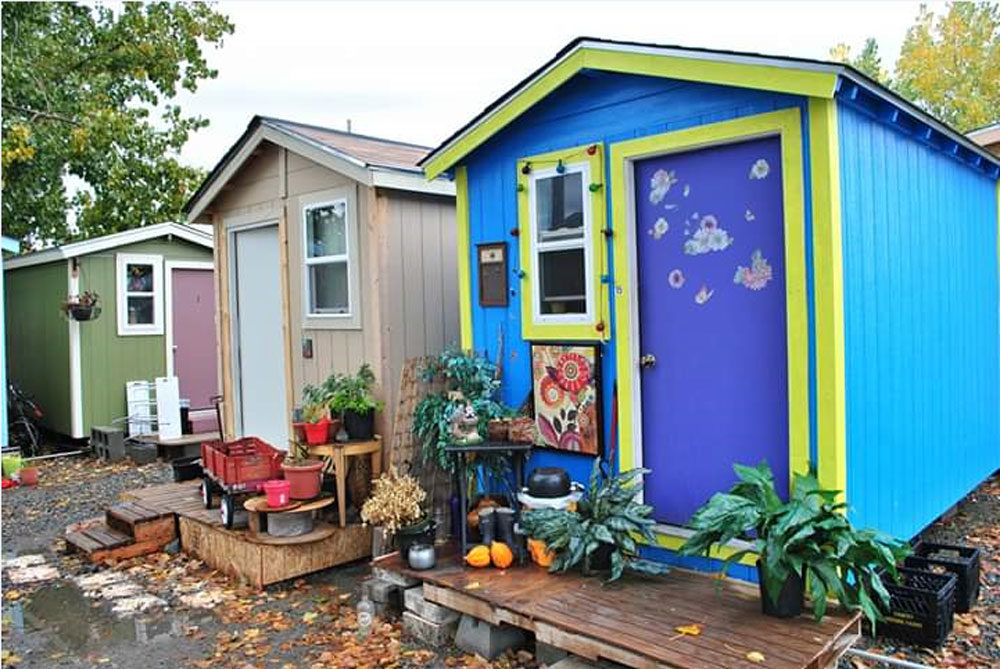 A row of tiny houses in the Georgetown Village in Seattle. (Courtesy Andrew Constantino)