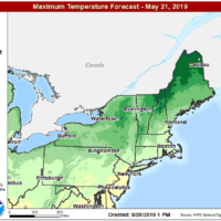 Tuesday's highs will be typical of the second half of May. (Courtesy NOAA)