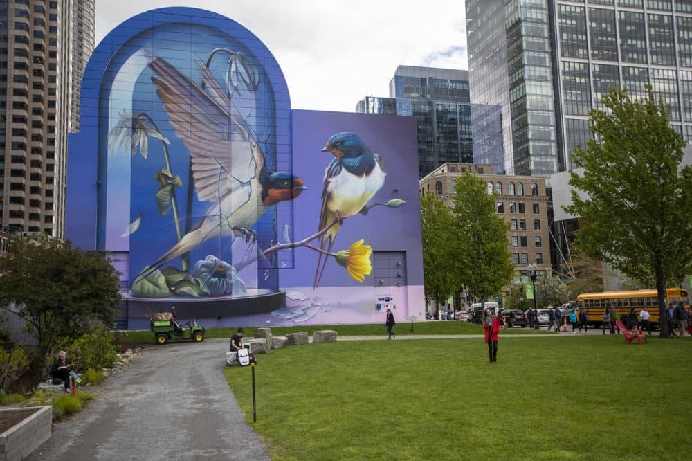 "Super A's mural ""Resonance"" now up in Dewey Square. (Jesse Costa/WBUR)"