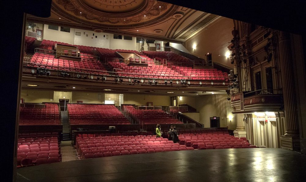 The view from the stage out across the 1,400 seats of The Strand Theatre. (Robin Lubbock/WBUR)