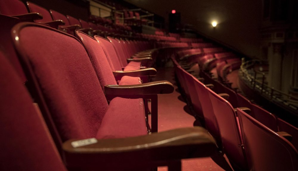 A row of balcony seats at The Strand Theatre in Uphams Corner. (Robin Lubbock/WBUR)