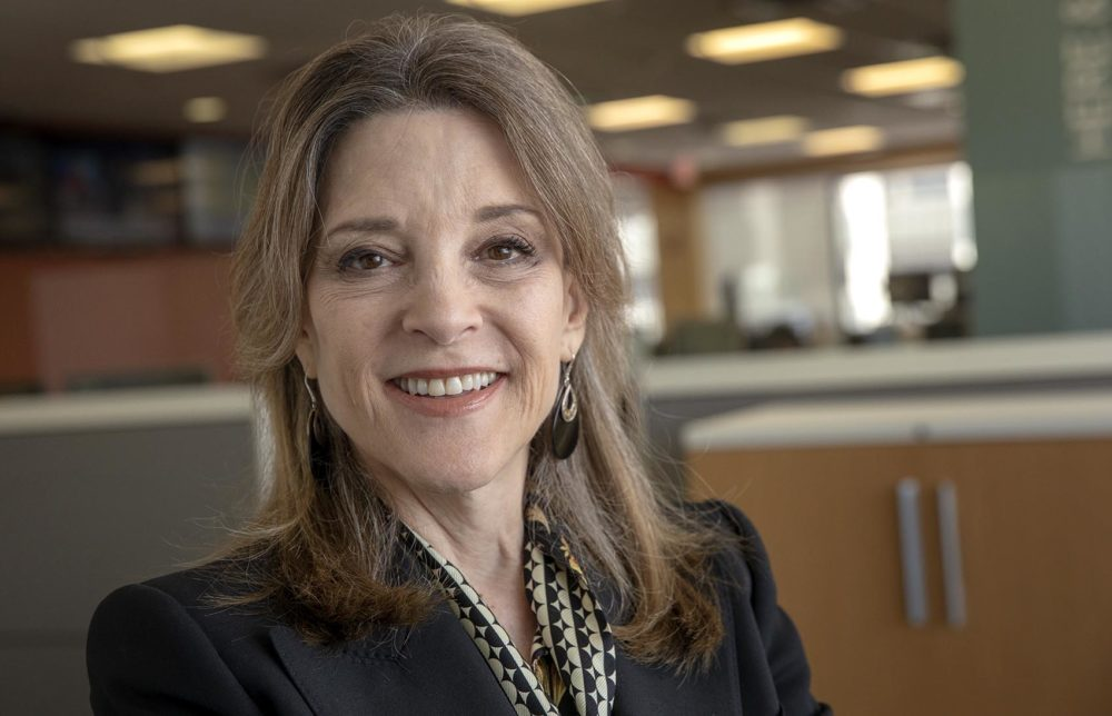 "Marianne Williamson is running for President of the United States ""to inspire a moral, spiritual and political awakening in America."" (Robin Lubbock/WBUR)"