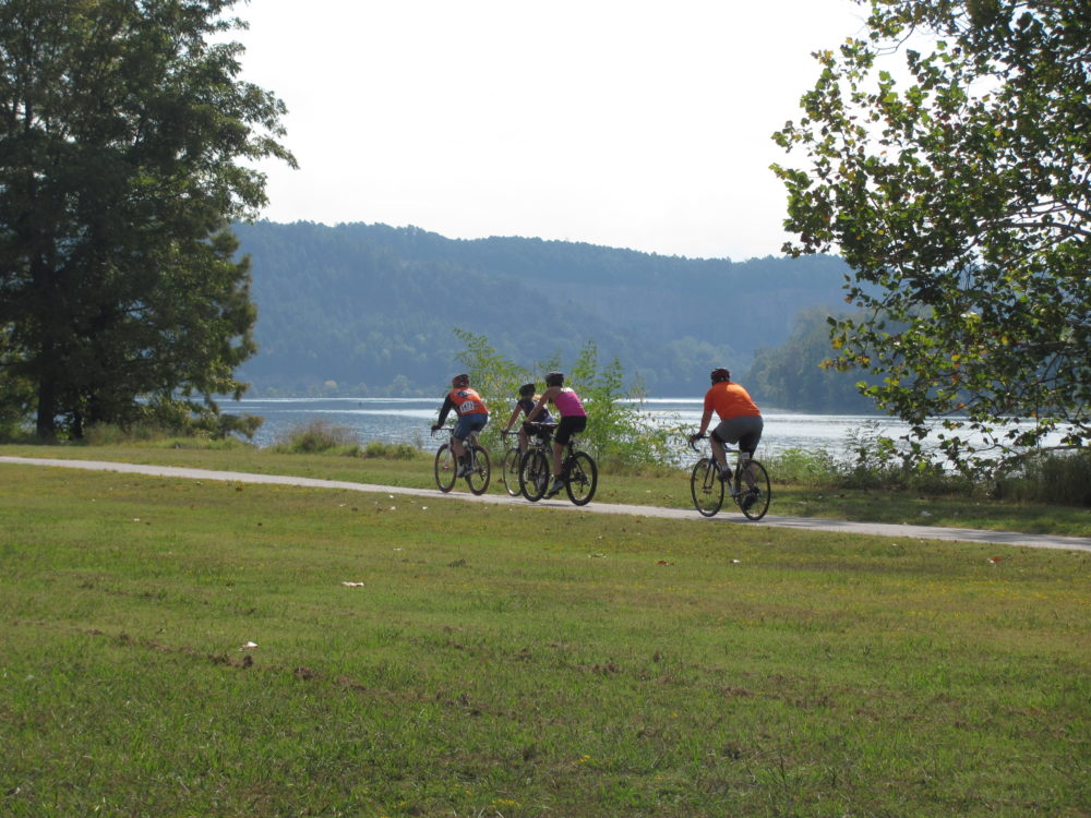 Cyclists ride along the Arkansas River Trail. (Courtesy of the Arkansas River Trail)