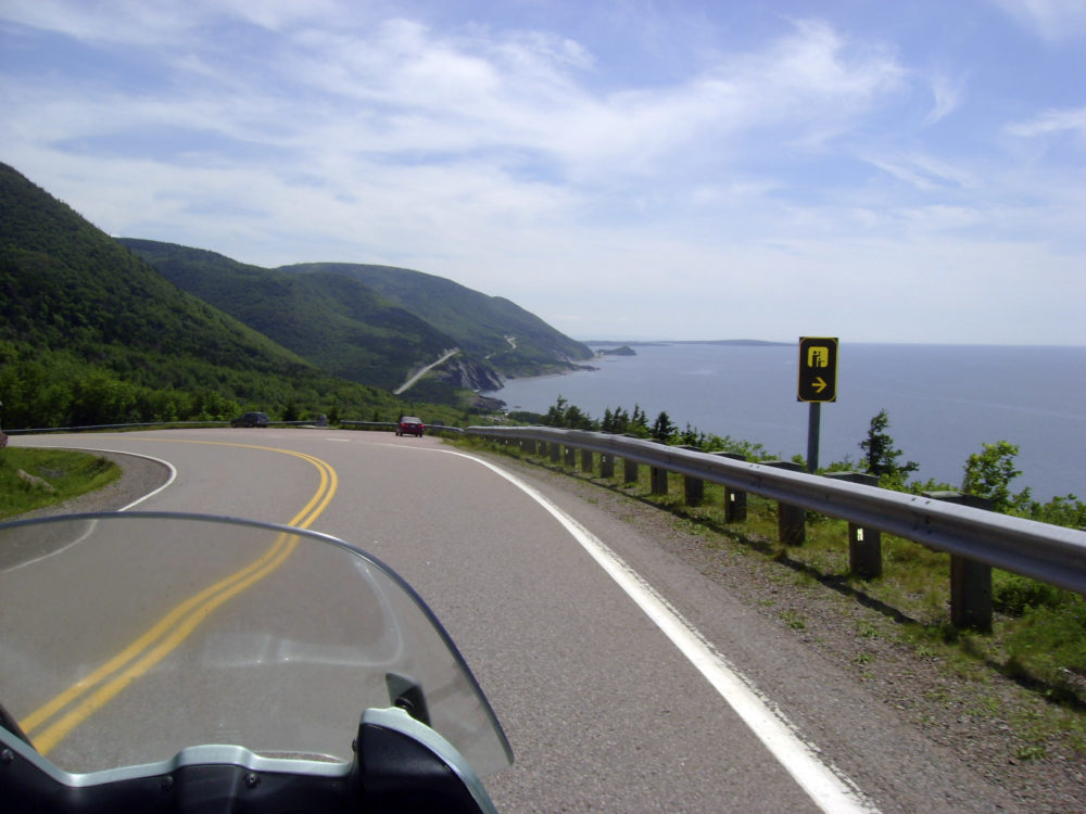 A view of the road along the eastern edge of Cape Breton Island during a motorcycle tour along the Cabot Trail in Cape Breton, Nova Scotia. (Glenn Adams/AP)