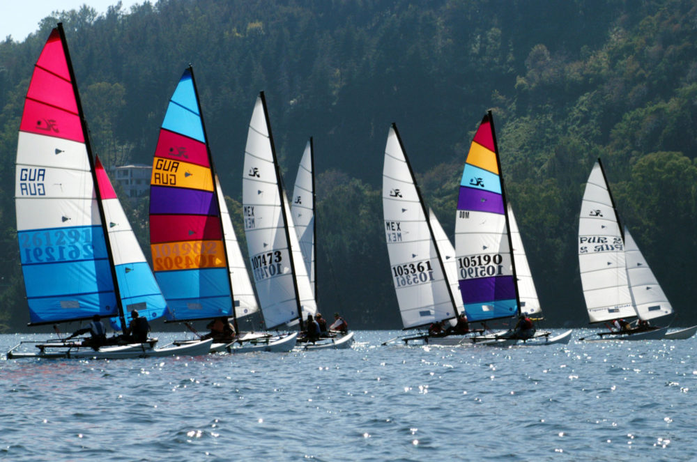 Sailboats compete during a competition on Lake Valle de Bravo, Mexico. (Marco Ugarte/AP)