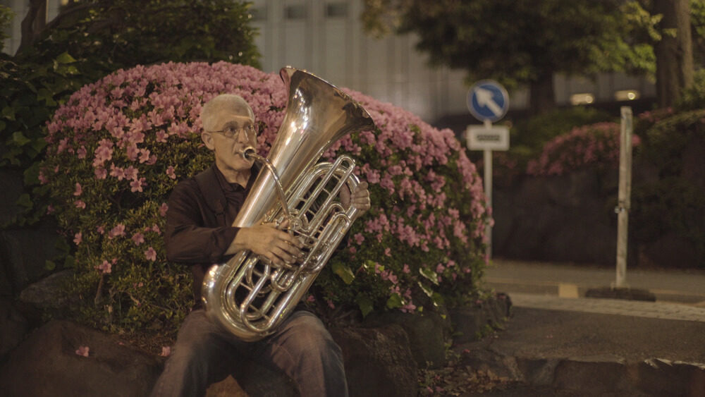 Brass musician Sam Pilafian plays the tuba in Tokyo. (Courtesy Pablo Camacho via Boston Brass)