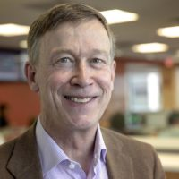 2020 presidential candidate and former Colorado Gov. John Hickenlooper, at WBUR. (Robin Lubbock/WBUR)