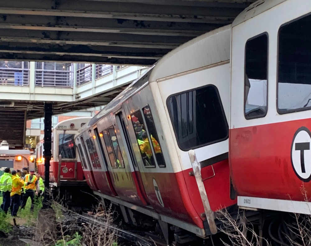 An MBTA Red Line train was derailed just outside of JFK/UMass Station Tuesday morning. (Courtesy Boston Fire Department)