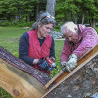 """Laura and Rick Brown work on """"The Housatonic at Stockbridge"""" on the grounds of Chesterwood in 2013. (Courtesy Cary Wolinsky/Trillium Studios)"""