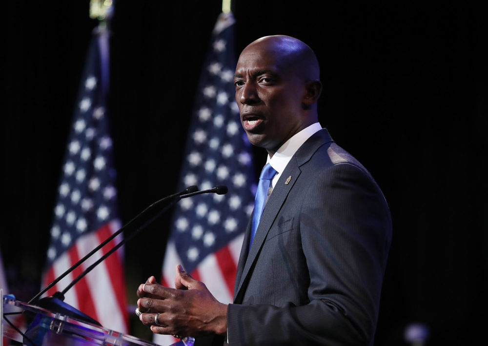 Democratic Miramar, Fla., Mayor Wayne Messam speaks at a rally at Florida Memorial University in Miami Gardens, Fla., announced his candidacy for president. (Joe Raedle/Getty Images)