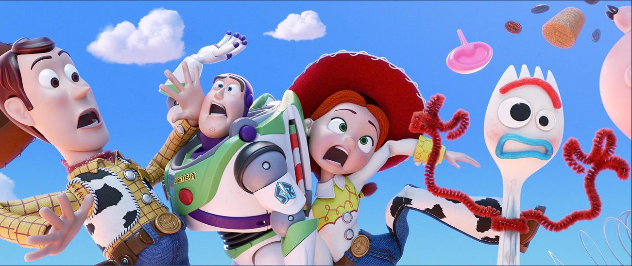 """Woody, Buzz Lightyear, Jessie and Forky in """"Toy Story 4."""" (Courtesy Disney/Pixar)"""