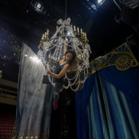 Sante Fortunato during a Cirque Du Soleil rehearsal at Agganis Arena in Boston. (Jesse Costa/WBUR)