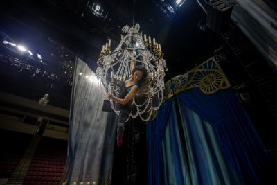 Sante Fortunato during a Cirque Du Soleil rehearsal at Agganis Arena in Boston. (Jesse Costa/WBUR)