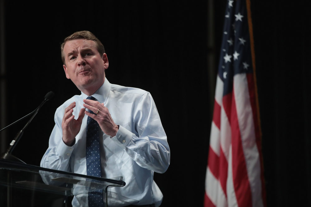 Democratic presidential candidate and Colorado Sen. Michael Bennet speaks at the Iowa Democratic Party's Hall of Fame Dinner in Cedar Rapids, Iowa. (Scott Olson/Getty Images)