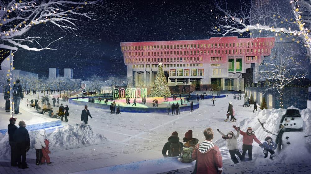 The main plaza in the winter. (Courtesy City of Boston)