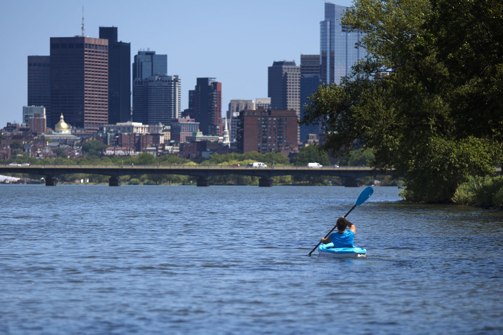 A woman kayaks in the Charles River. (Jesse Costa/WBUR)