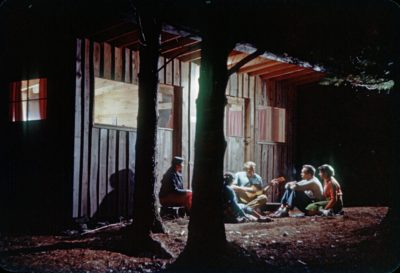 Students singing at the Haystack dorms on the Liberty campus in 1955; photographed by student Ross Lowell. (Courtesy Haystack Mountain School of Crafts)