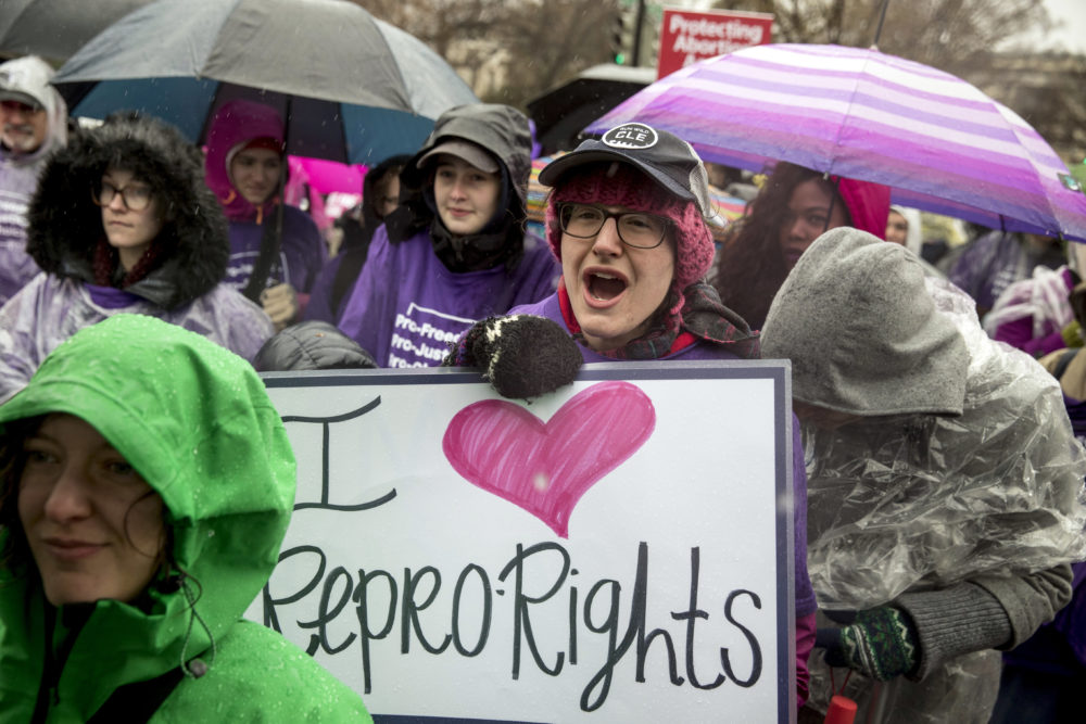 Pro-abortion rights supporters rally outside the Supreme Court in Washington on Tuesday, March 20, 2018. (Andrew Harnik/AP)