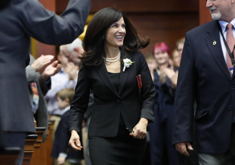 Maine Democratic House Speaker Sara Gideon says she's running against veteran Republican U.S. Sen. Susan Collins, who was first elected to the Senate in 1996. (Robert F. Bukaty/AP)