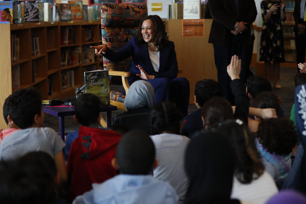 Sen. Kamala Harris, D-Calif., talks to students at Miller Elementary School in Dearborn, Mich., Monday, May 6, 2019. (Paul Sancya/AP)