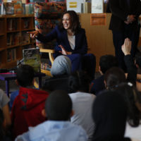 Sen. Kamala Harris, D-Calif., talks to students at Miller Elementary School in Dearborn, Mich., Monday, May 6, 2019. (Paul Sancya/AP)