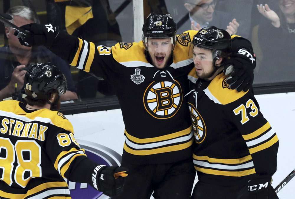 The Bruins celebrate a power play goal during Game 2 of the NHL hockey Stanley Cup Final against the St. Louis Blues. (Charles Krupa/AP Photo)