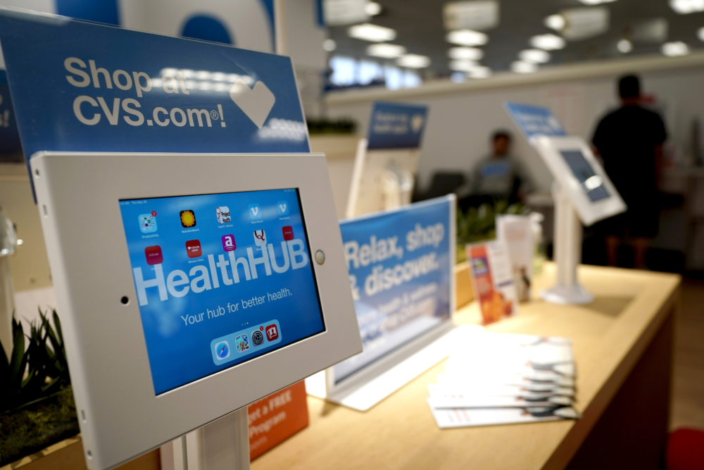 A kiosk is shown inside a CVS store with the new HealthHUB. The locations offer a broader range of health care services, new product categories, digital tools and on-demand health kiosks, trusted advice and personalized care. (David J. Phillip/AP)