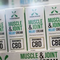 Muscle Joint & Relief Cream is displayed at the Cannabis World Congress & Business Exposition trade show on May 30, 2019 in New York. (Mark Lennihan/AP)