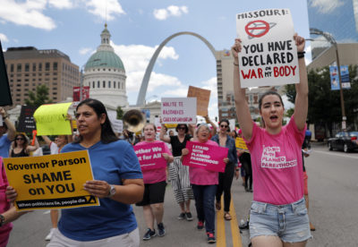 Abortion-rights supporters march Thursday, May 30, 2019, in St. Louis. (Jeff Roberson/AP)