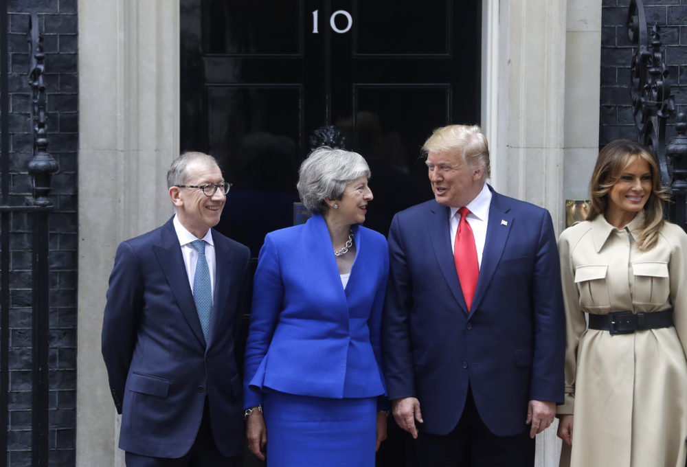 Britain's Prime Minister Theresa May and her husband Philip greet President Donald Trump and first lady Melania outside 10 Downing Street in central London, Tuesday, June 4, 2019. (Kirsty Wigglesworth/AP)