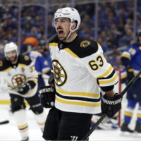 Bruins left wing Brad Marchand celebrates after scoring a goal against the Blues during the first period of Game 6 of the Stanley Cup Final Sunday. (Jeff Roberson/AP)