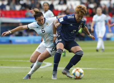Argentina's Aldana Cometti, left, and Japan's Yuika Sugasawa play during a Women's World Cup match between Argentina and Japan in Paris, France, Monday, June 10, 2019. (Thibault Camus/AP)